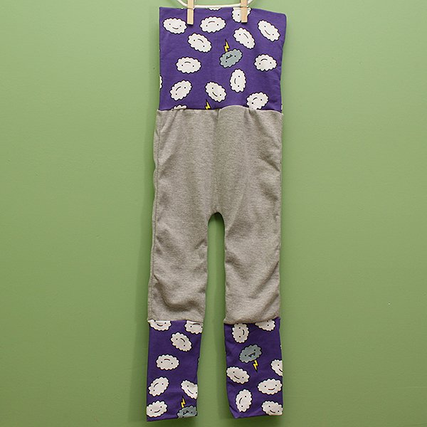 "Love Bums ""Fancy Pants""  - Purple Crankies with Gray Legs (Size 1) no bum circle"