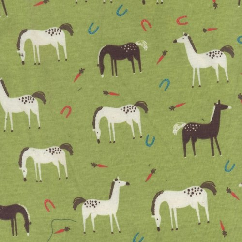 Horses - 100% Cotton rib knit [by the yard]