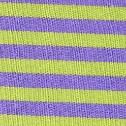 Lime & Lavender Stripe - Cotton Lycra [by the yard]