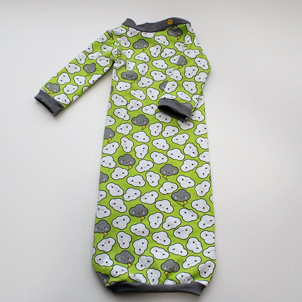 Cranky Clouds [Lime] - Newborn Gown