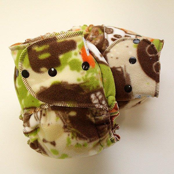 Camo Skulls Sleepy [Fleece]  - Size 1.5 Serged - Orange Velour