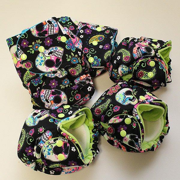 Sweet Skulls [Swimsuit Knit]  - Newborn - Lime Velour