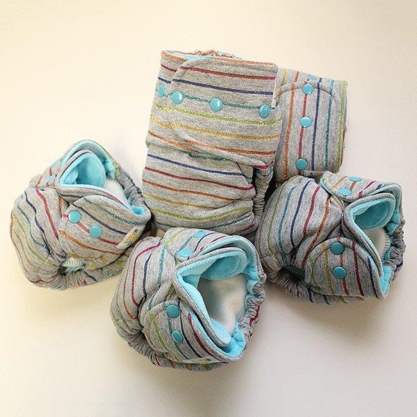 Rainbow Delight [Knit]  - Newborn - Aqua Velour
