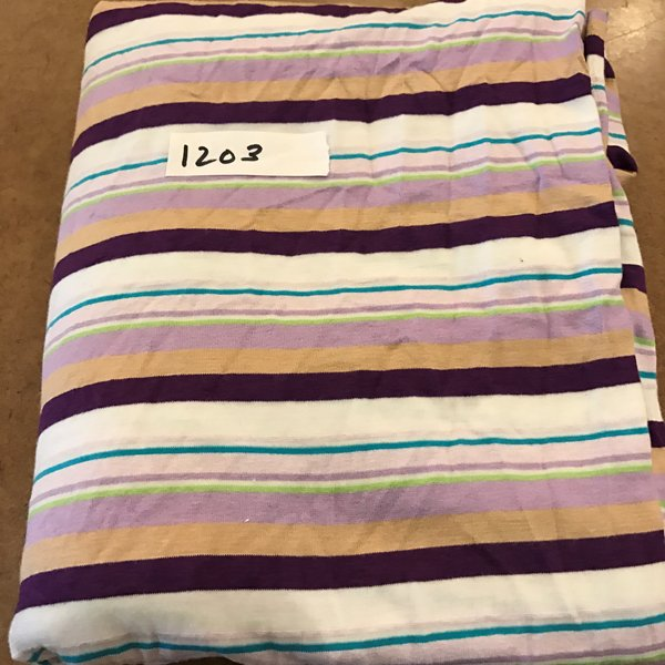 "1203 - Purple Stripe Cotton Lycra Poly - 34""xWOF + extra"
