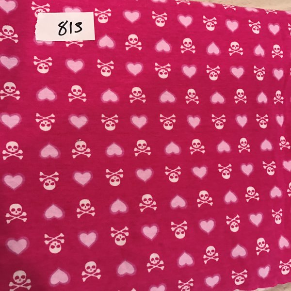 "813 - Pink Skulls - 1yd + 30in"" small spots  Cotton Rib Knit"
