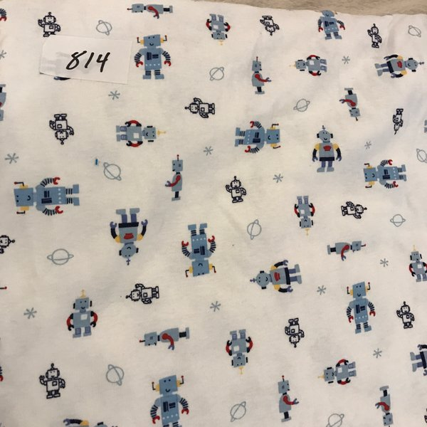 "814 - Robots - 24""x60""  Cotton Rib Knit"