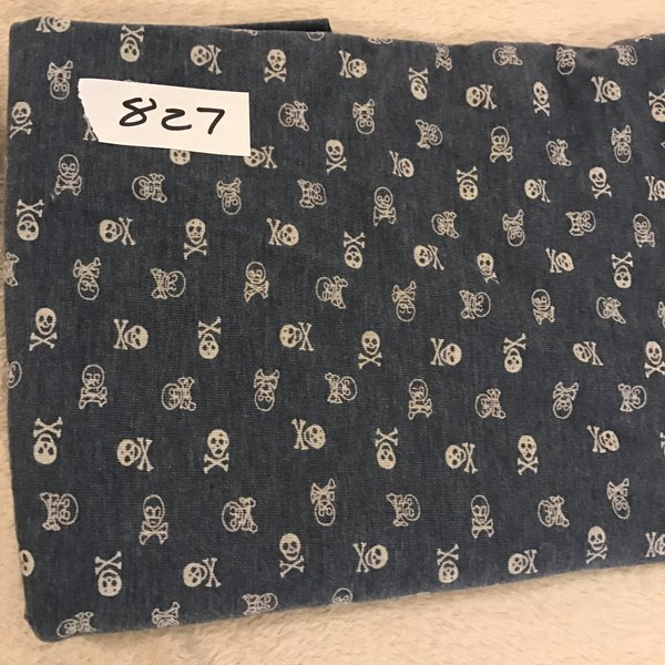 "827 - Skulls - 36""x32"" + extra  Cotton Rib Knit"