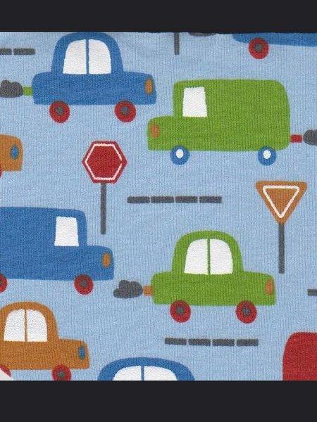 Blue Cars - Cotton Rib Knit [by the yard]