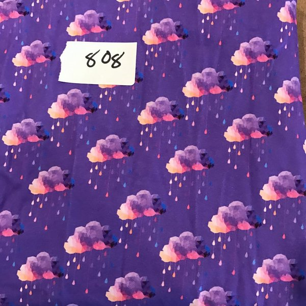 "#808 Purple Clouds - 28""x34"" plus extra  - Cotton Lycra Knit"