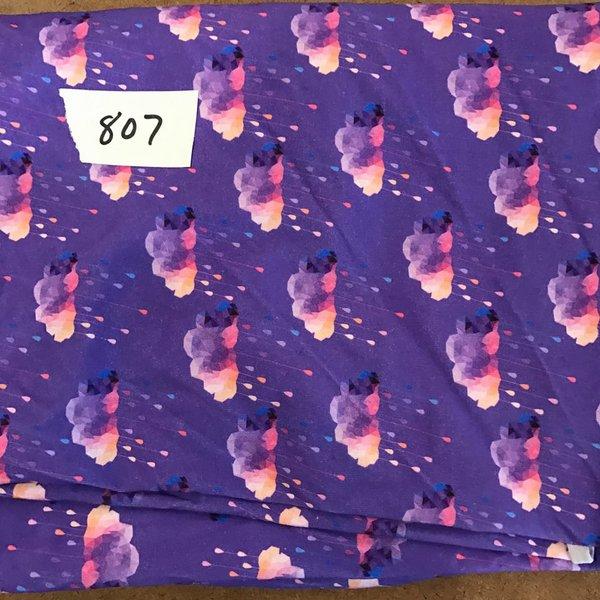 """#807 Purple Clouds - 33""""x18"""" plus extra  - Cotton Lycra Knit"""