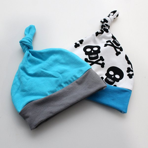 [Newborn] Hat - Skulls / Solid Set of 2