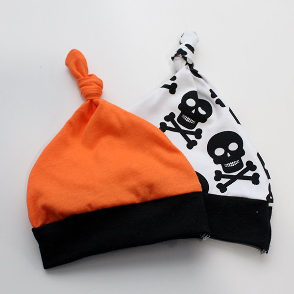 [Newborn] Hat - Skulls / Orange Set of 2