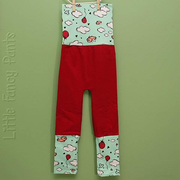 "Love Bums ""Fancy Pants""  - Red Legs & Flying Pigs (Size 1) no bum circle"