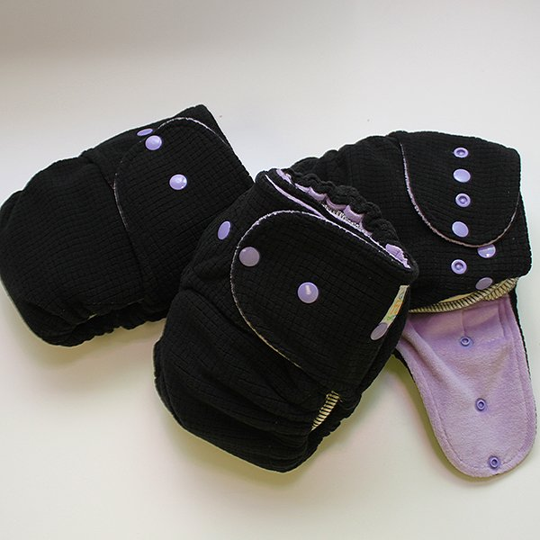Black Polartec with Lavender - Size 1 - Sleepy