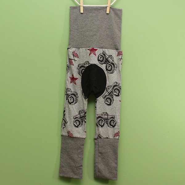 "Love Bums ""Fancy Pants""  - Monster Trucks (Size 1) with black bum circle"