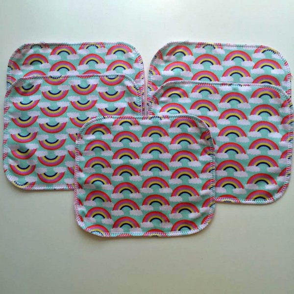 Rainbow Set of 5 Flannel Wipes - Girls
