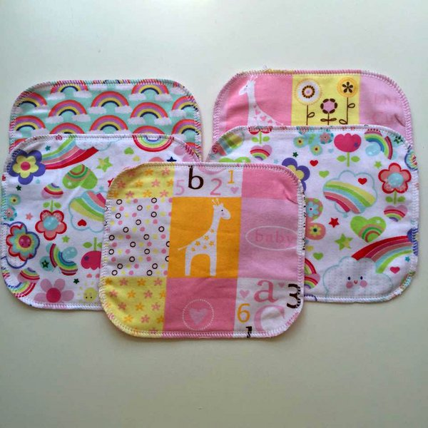 Set of 5 Flannel Wipes - Girls
