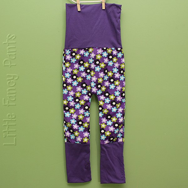 "Love Bums ""Fancy Pants""  - Plum Daisies (Size 1) no bum circle"