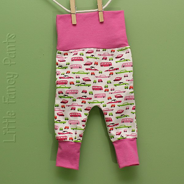 "Love Bums ""Fancy Pants""  - Pink Cars (Newborn) no bum circle"
