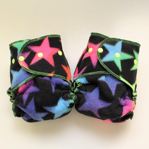 Neon Stars [Fleece Sleepy]  - Size 1.5 Serged - Grape Velour