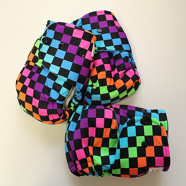 Neon Checkers - Size 2 - [Swimsuit Knit] Aqua Velour