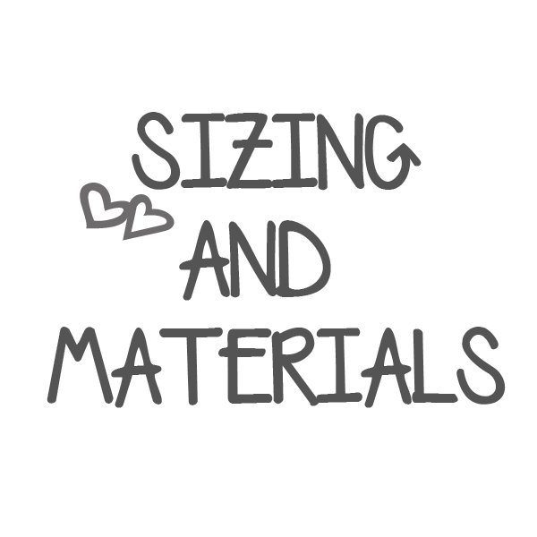 Sizing & Material Information