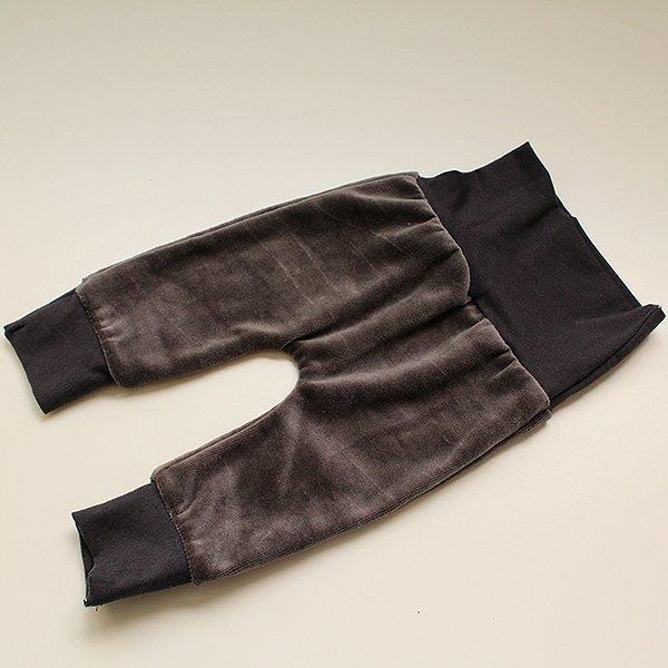 Charcoal Velour - Newborn Fancy Pants 0-6 Months