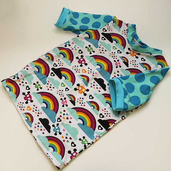 [Tester] Shirt - Toxic Rainbow w/ Polka Sleeves 3T