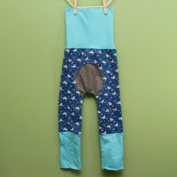 "Love Bums ""Fancy Pants""  - Unicorn w/ blue (Size 1) with bum circle"