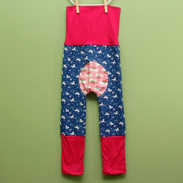 "Love Bums ""Fancy Pants""  - Unicorn w/ Pink (Size 1) with bum circle"