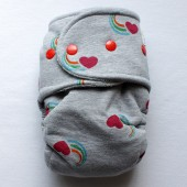 Heart of the Rainbow - OS Size 2 -  Hybrid Fitted - Heather Gray Velour
